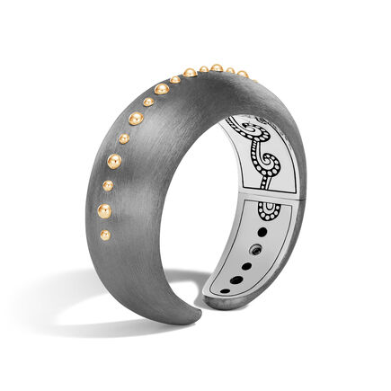 Dot 20MM Kick Cuff in Blackened Silver and 18K Gold