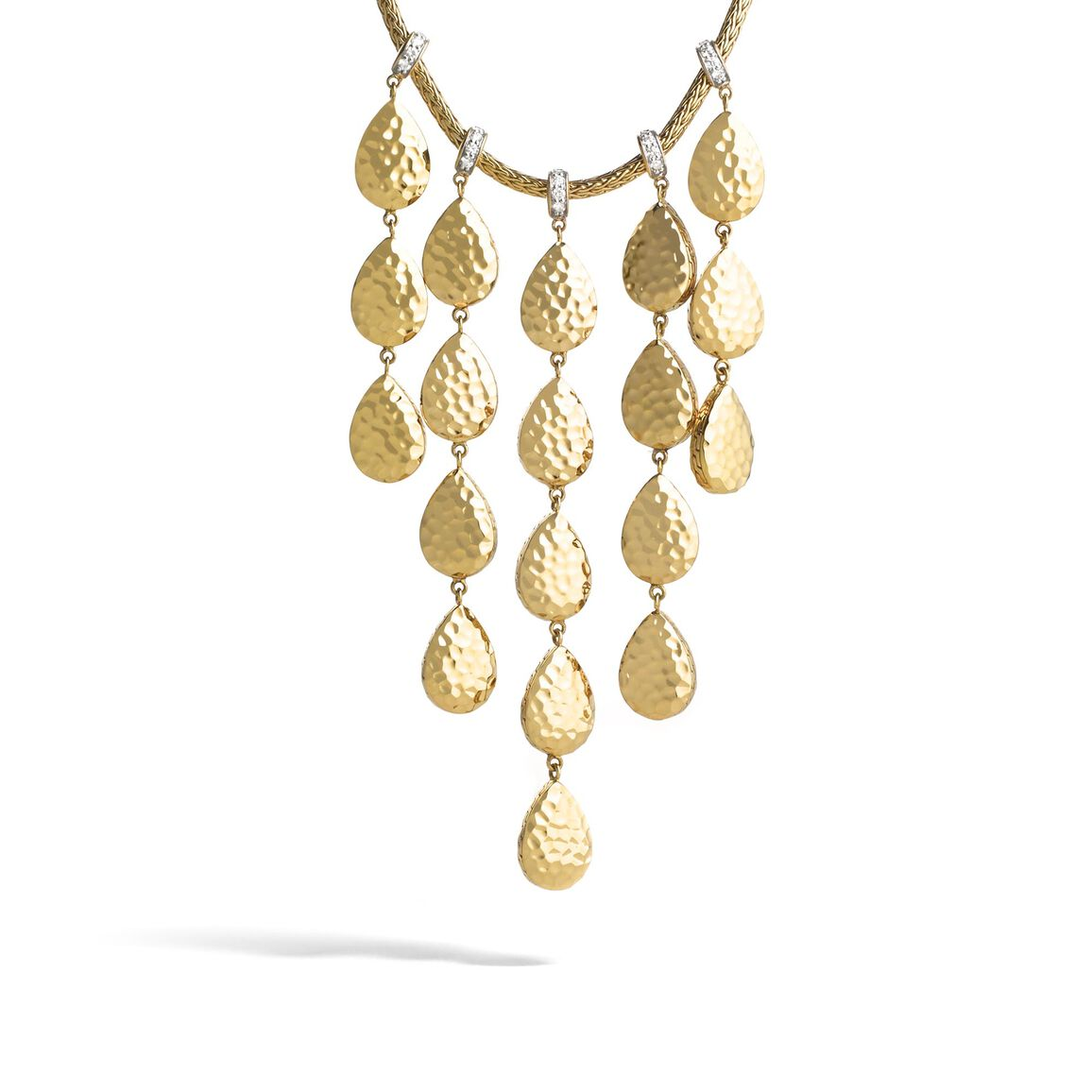 Classic Chain Drop Necklace in Hammered 18K Gold, Diamonds