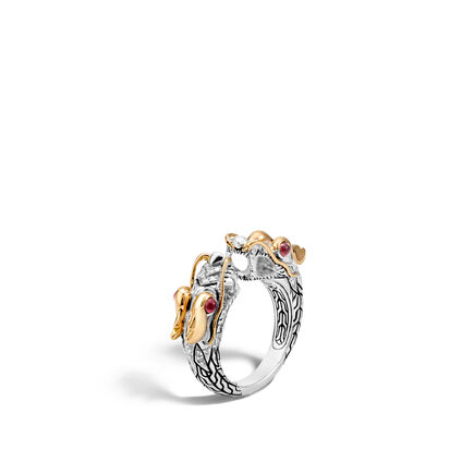 Legends Naga Double Head Ring in Silver, 18K Gold, Diamonds