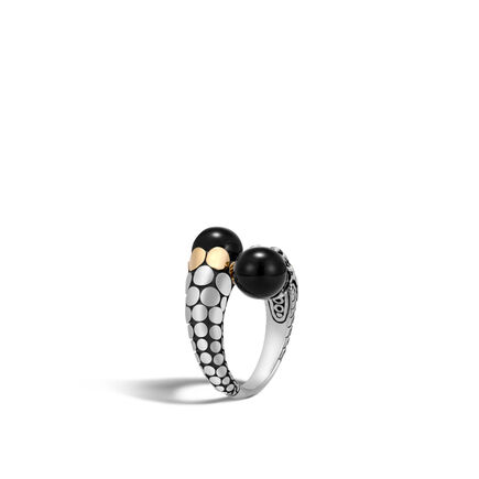 Dot Bypass Ring in Silver and 18K Gold with Gemstone