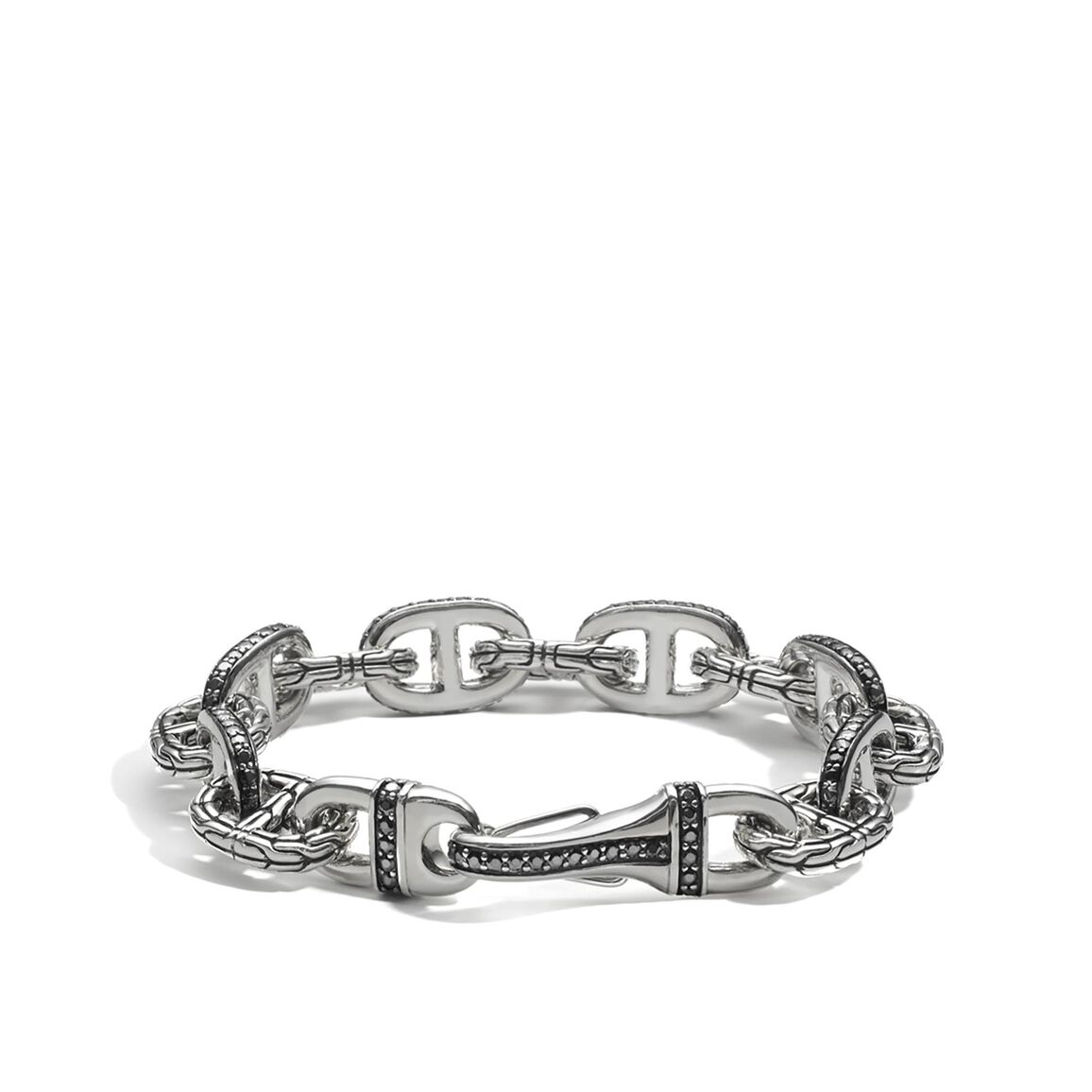 Classic Chain 13.5MM Link Bracelet in Silver with Gemstone