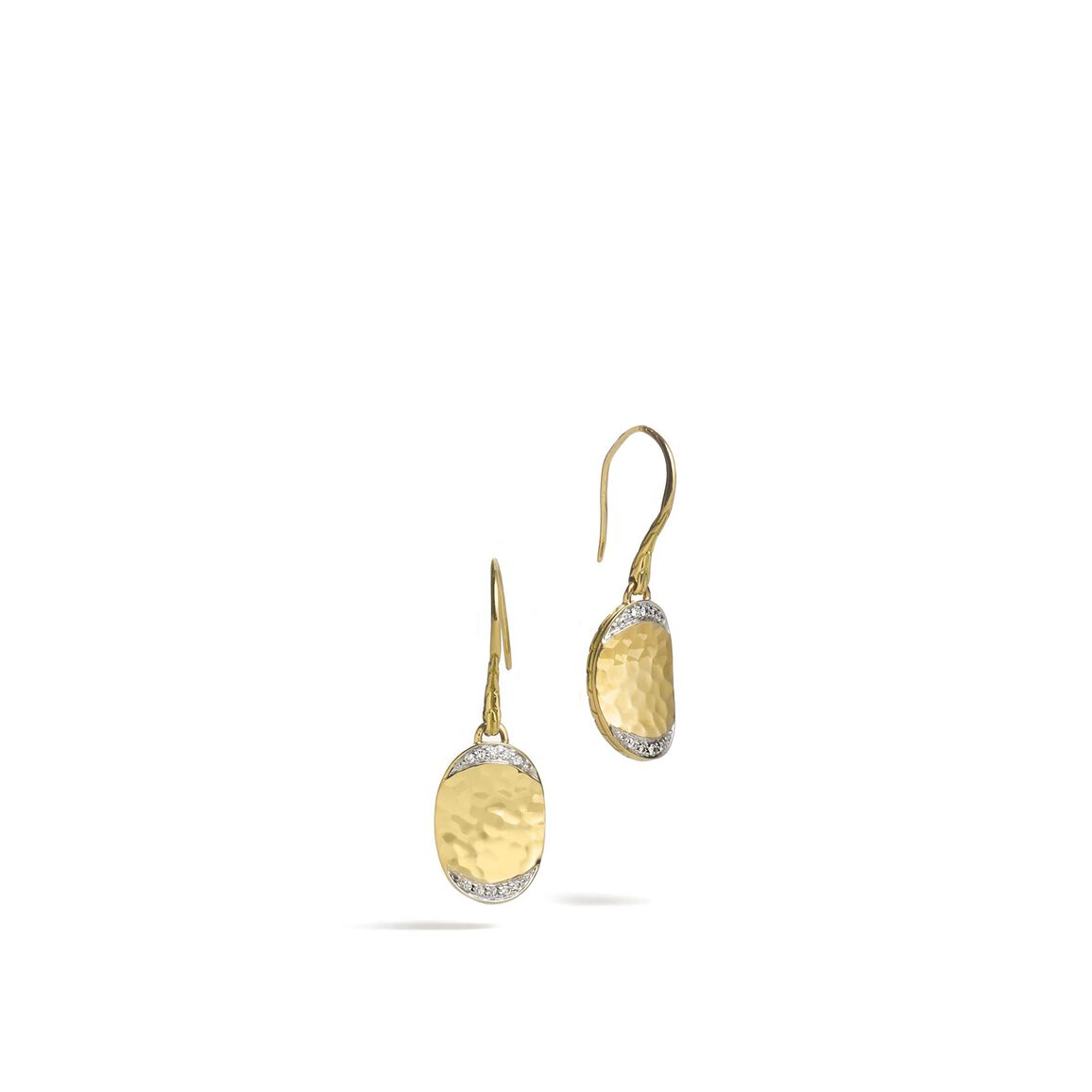 Classic Chain Small Drop Earring, Hammered 18K, Diamonds