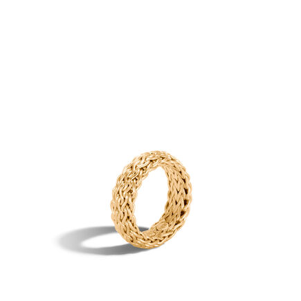 Classic Chain 7MM Band Ring in 18K Gold