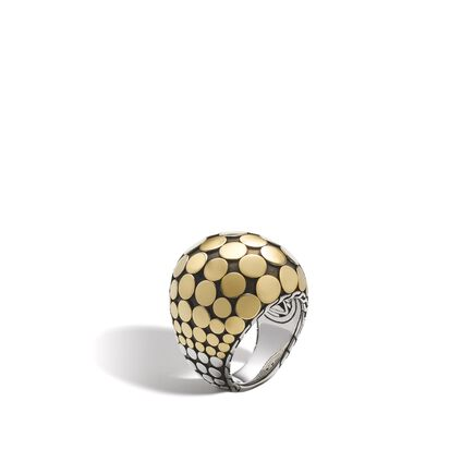 Dot Dome Ring in Silver and 18K Gold