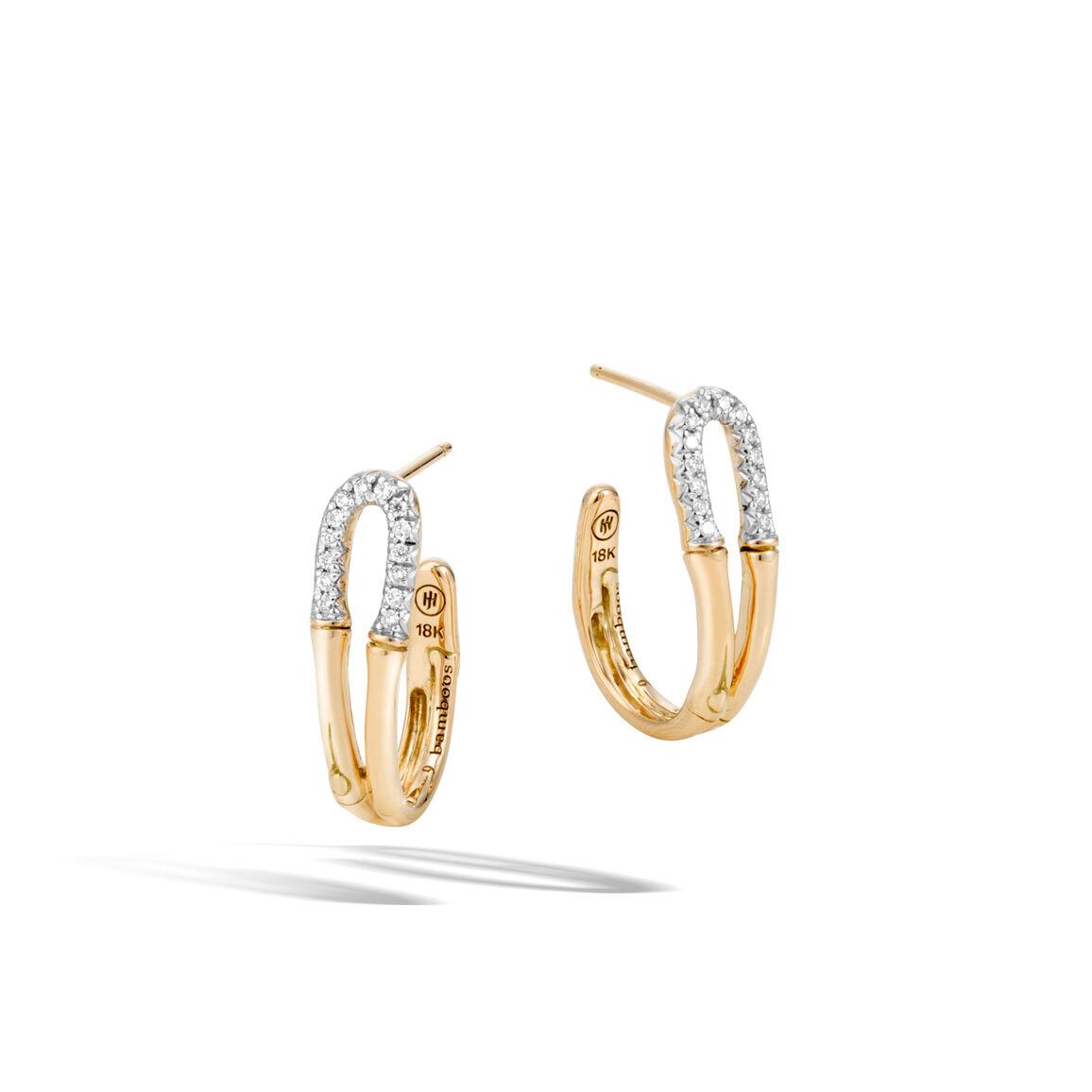 Bamboo Small Hoop Earring in 18K Goldwith Diamonds