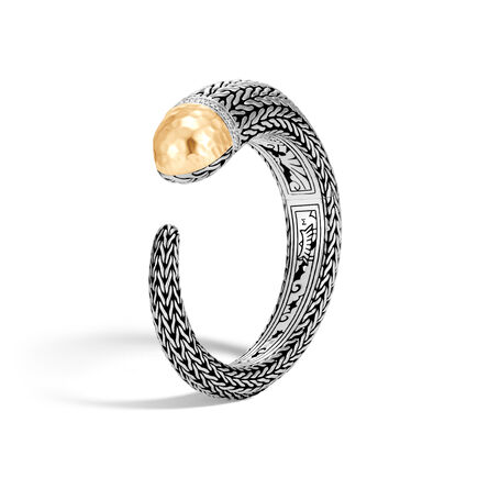 Classic Chain 18.5MM Cuff, Silver, Hammered 18K Gold, Dia
