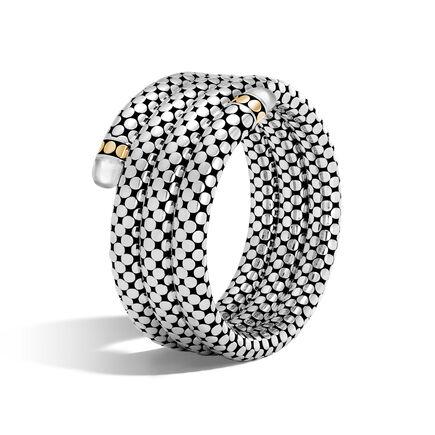 Dot Triple Coil Bracelet in Silver, 18K Gold with Gemstone
