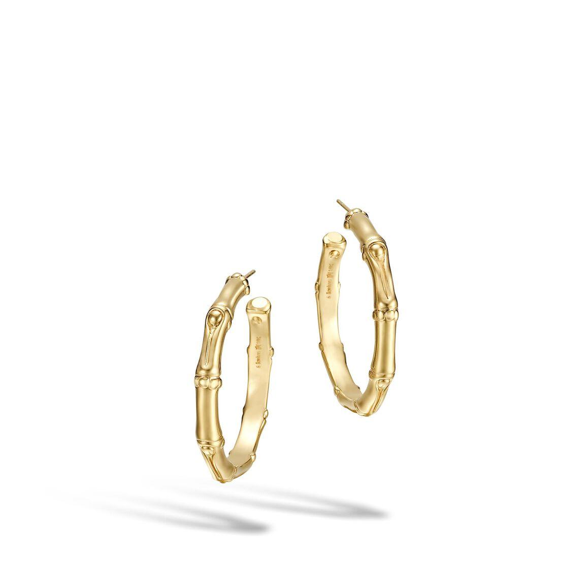 Bamboo Medium Hoop Earring in 18K Gold