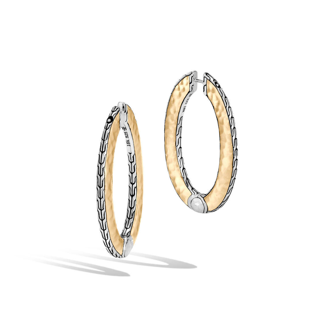 Classic Chain MD Hammered Reversible Hoop, Silver, 18K Gold
