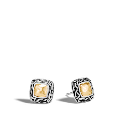 Classic Chain Stud Earring in Silver and Hammered 18K Gold