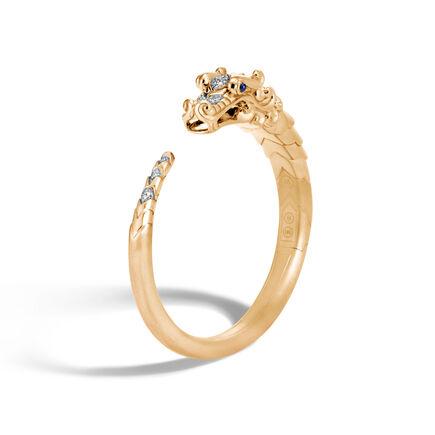 Legends Naga Kick Cuff in Brushed 18K Gold with Diamonds