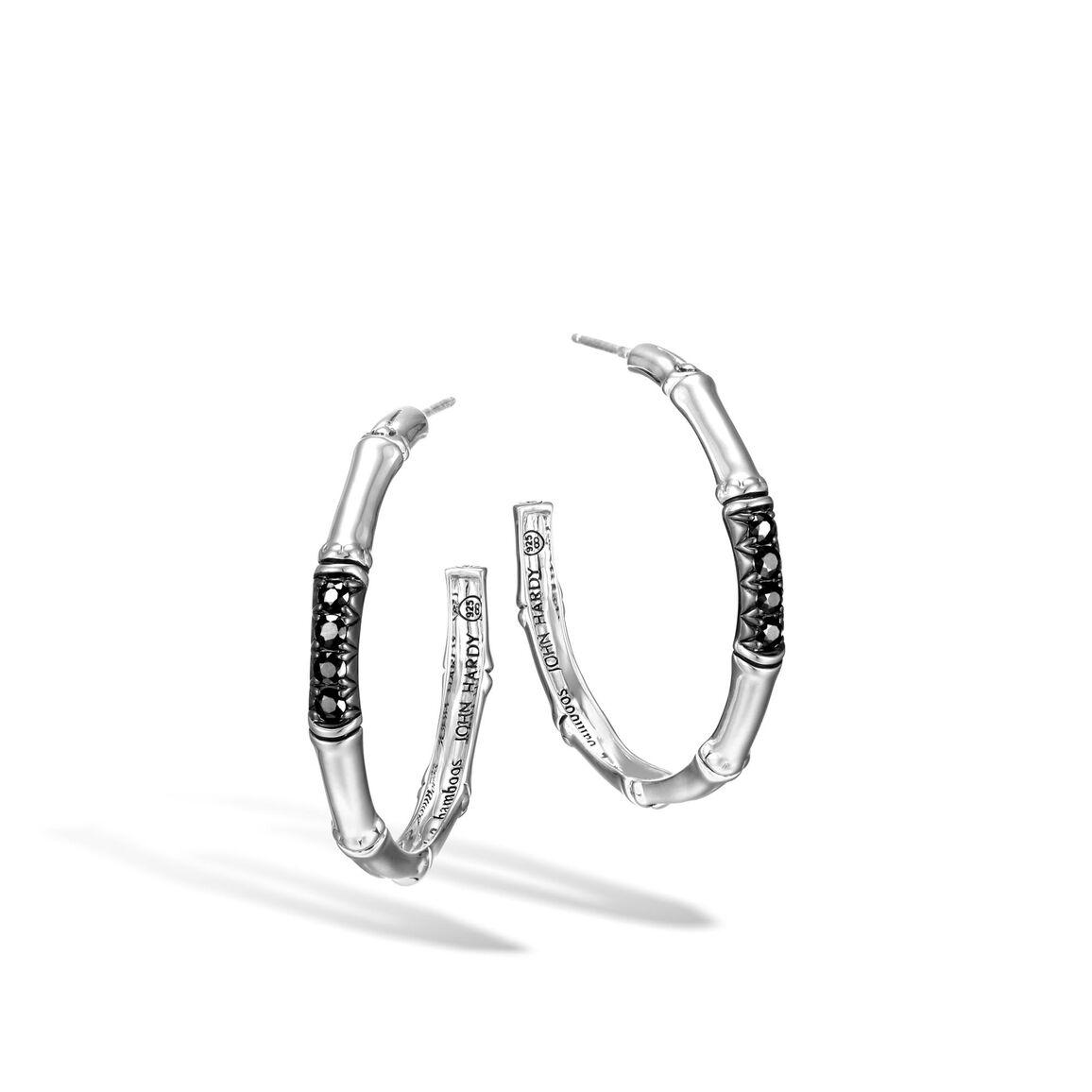 Bamboo Medium Hoop Earring in Silver with Gemstone