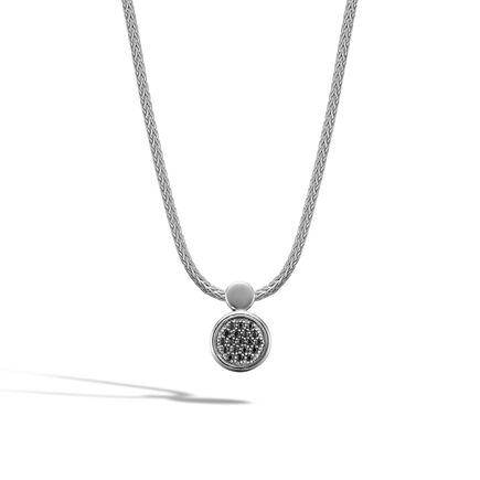 Dot Pendant Necklace in Silver with Gemstone