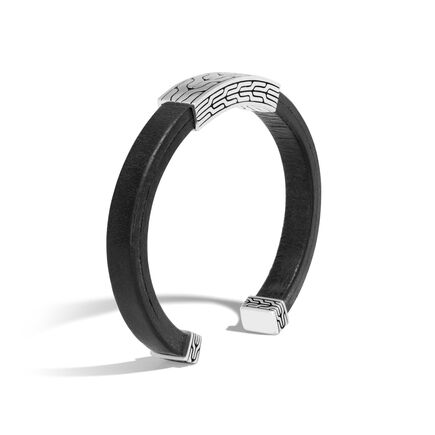 Classic Chain 8MM Cuff in Silver and Leather