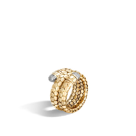 Dot Coil Ring in 18K Gold with Diamonds