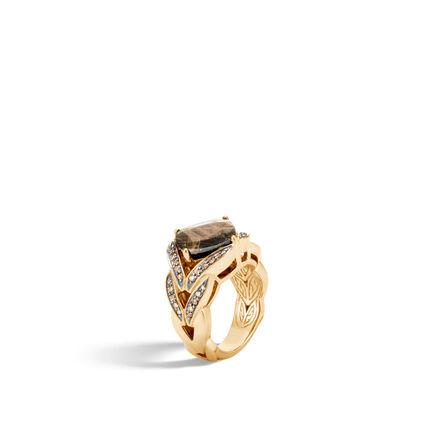 Modern Chain Magic Cut Ring, 18K Gold with Gemstone, Dia