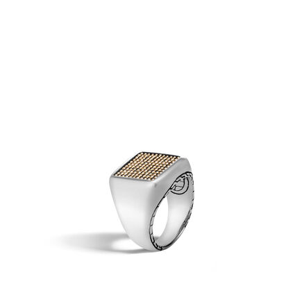 Chain Jawan Signet Ring in Silver and 18K Gold