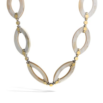 Dot 27MM Link Necklace in Silver, 18K Gold and Buffalo Horn