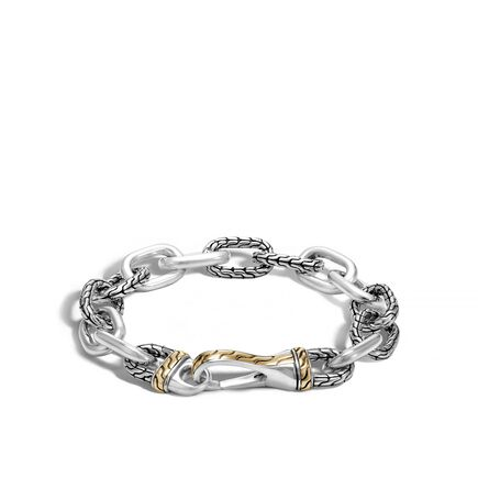 Classic Chain 12MM Link Bracelet in Silver and 18K Gold