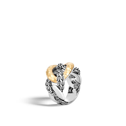 Classic Chain 15.5MM Band Ring, Silver and Hammered 18K Gold