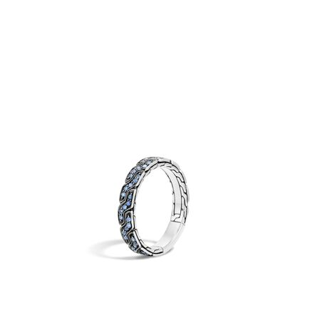 Classic Chain 4MM Band Ring in Silver with Gemstone