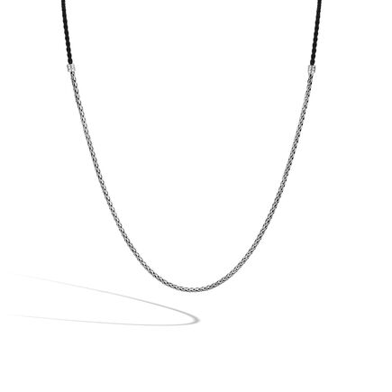 Classic Chain 3.5MM Necklace in Silver and Leather