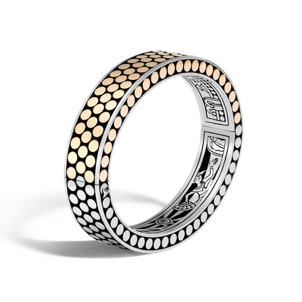 Dot 13MM Hinged Bangle in Silver and 18K Gold