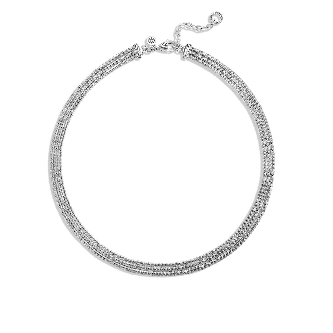 Classic Chain Triple Row Necklace in Silver