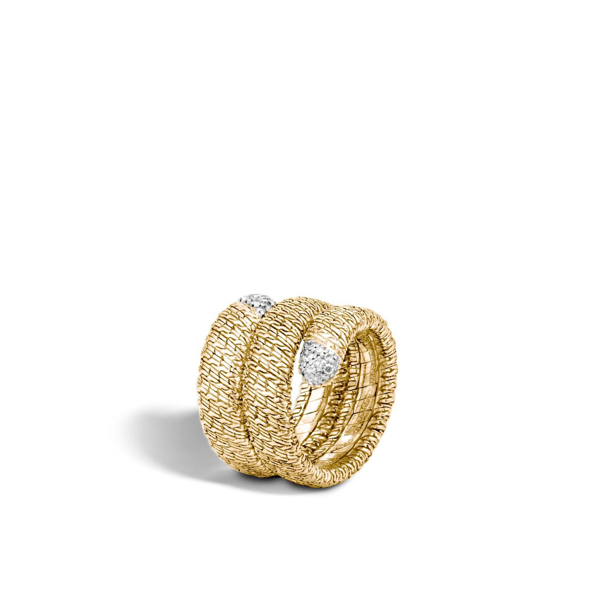 Classic Chain Coil Ring in 18K Gold with Diamonds