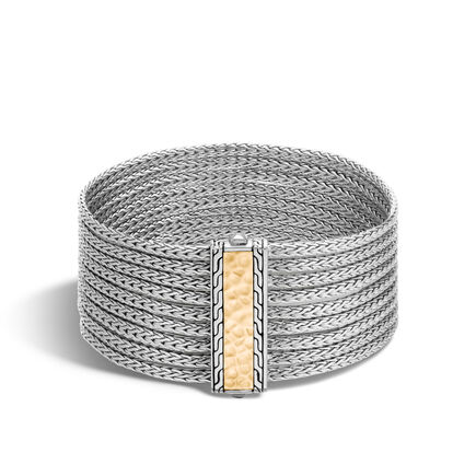 Classic Chain Nine Row Bracelet in Silver and 18K Gold