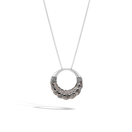 Classic Chain Pendant Necklace in Silver with Gemstone