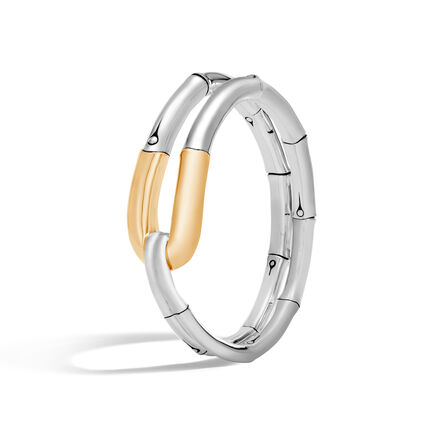 Bamboo 21MM Cuff in Silver and 18K Gold