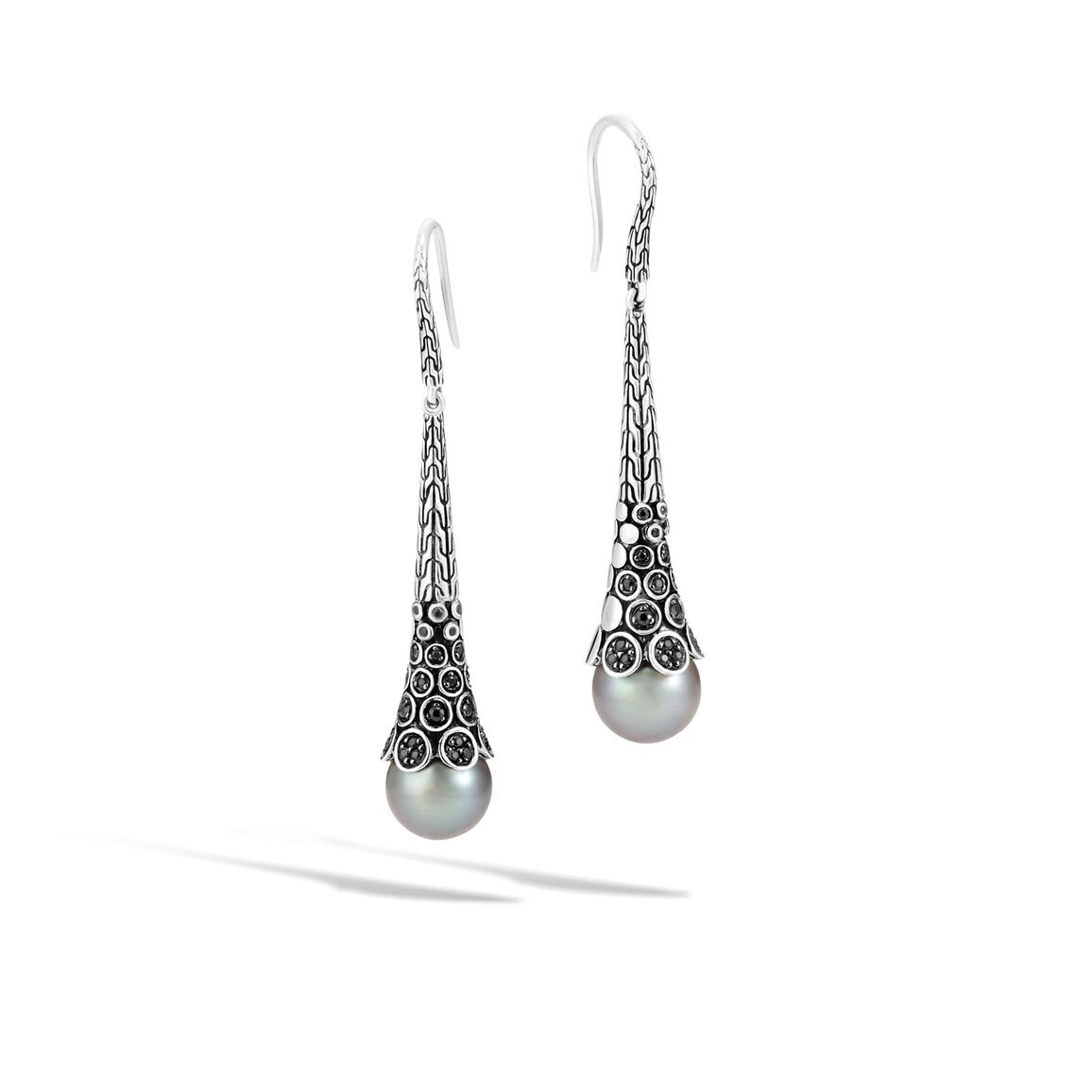 Dot Drop Earring in Silver with 11MM Pearl and Gemstone