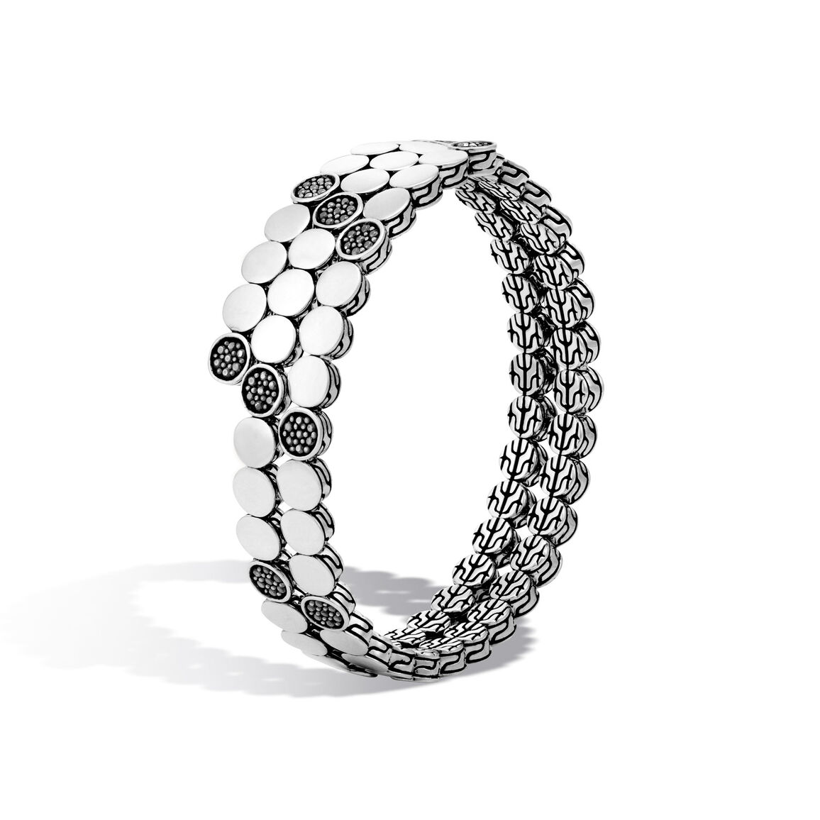 Dot Double Coil Bracelet in Silver with Gemstone