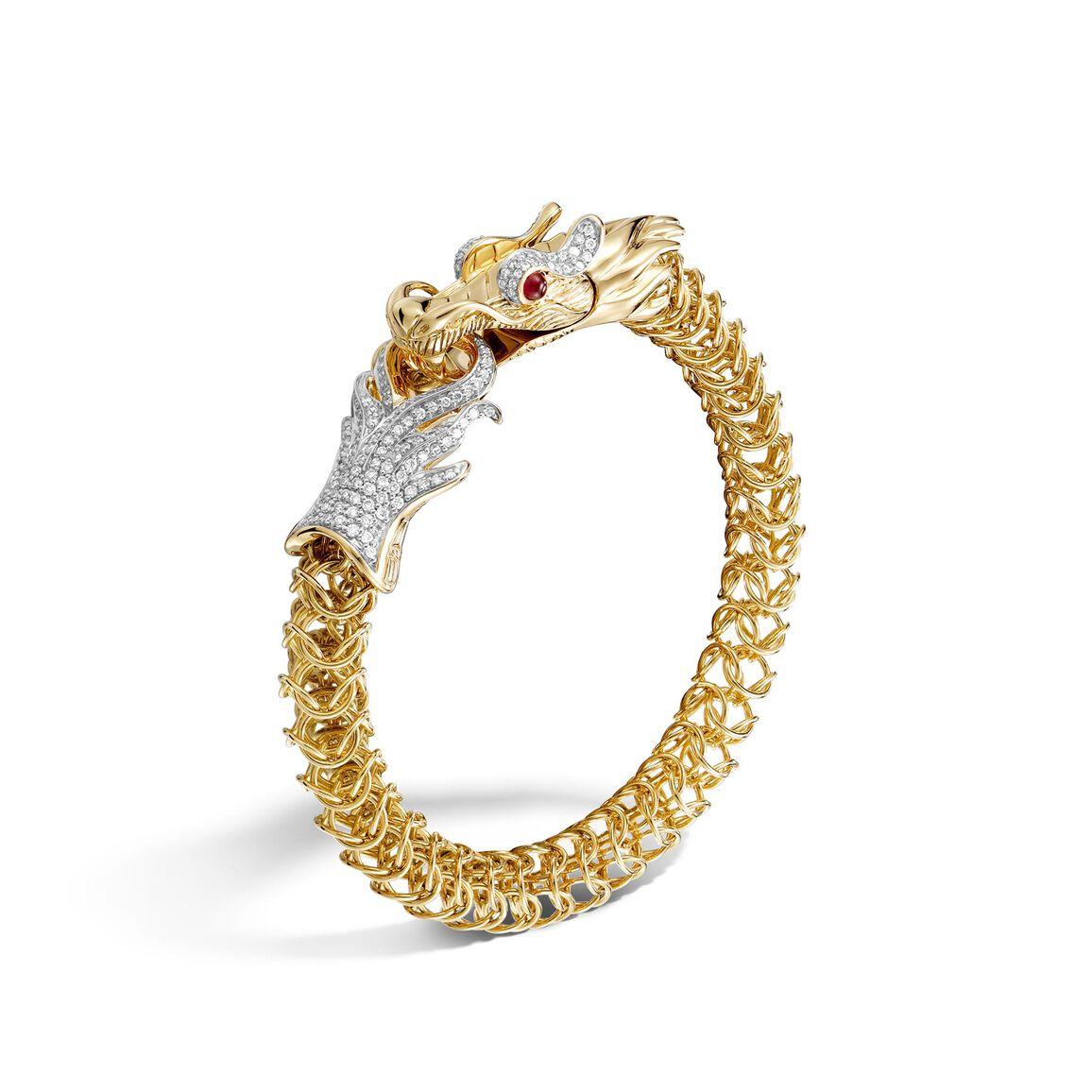 Legends 9MM Link Bracelet in 18K Gold with Diamonds