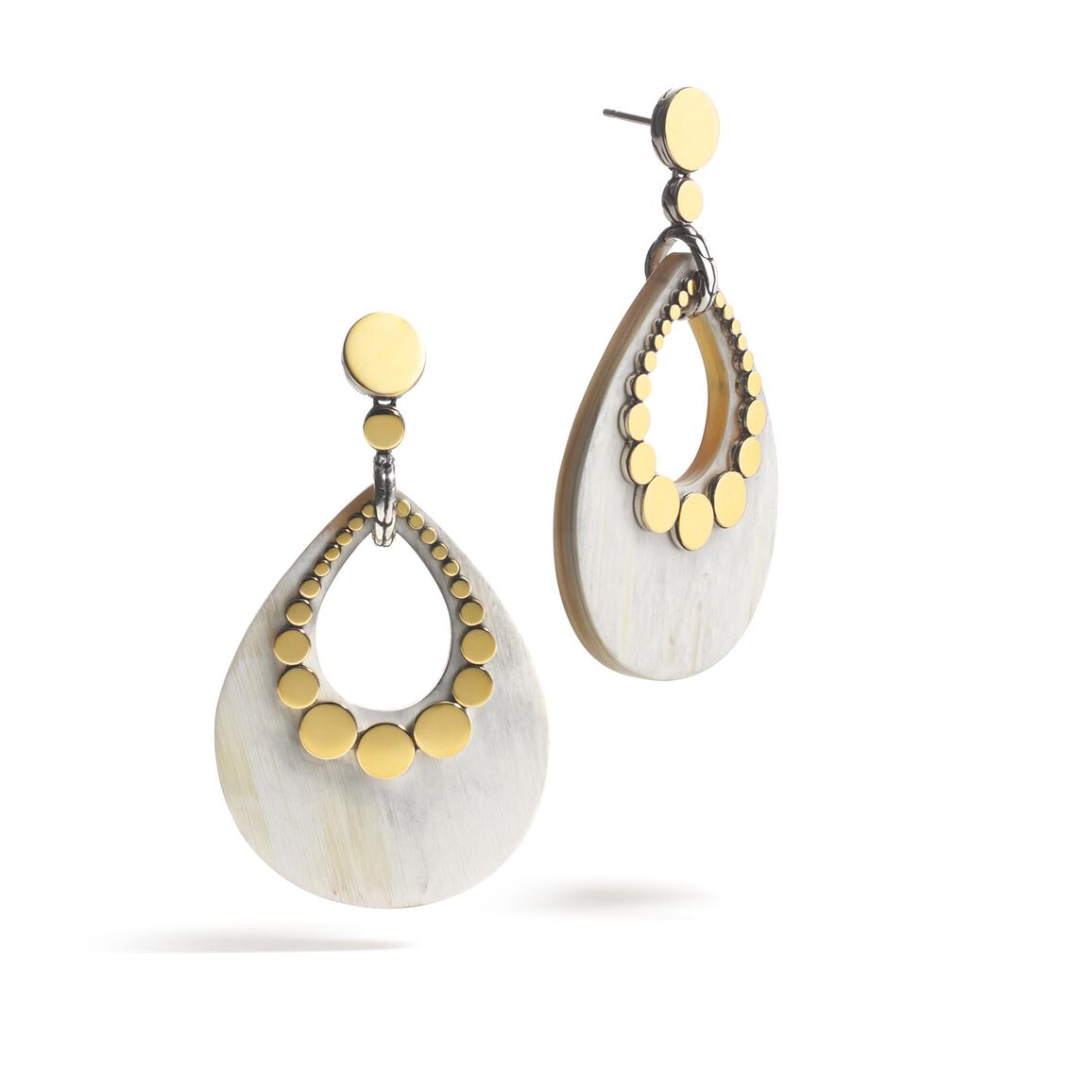 Dot Drop Earring in Silver, 18K Gold and Horn