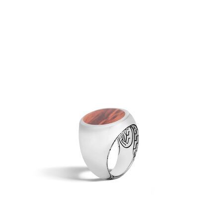 Classic Chain Signet Ring in Silver, Wood