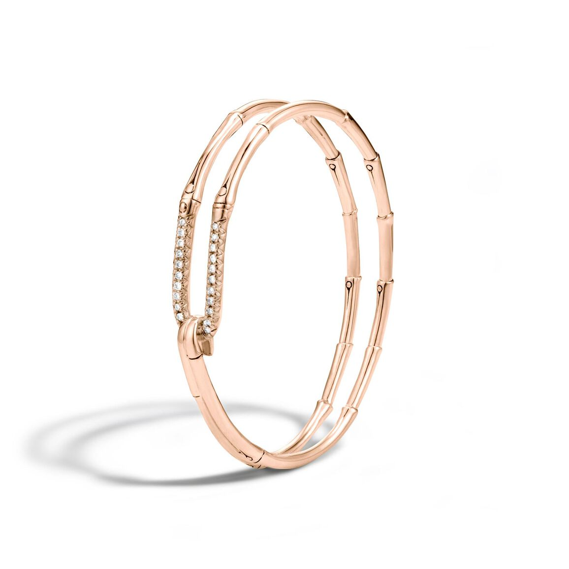 Bamboo Bangle in 18K Gold with Diamonds