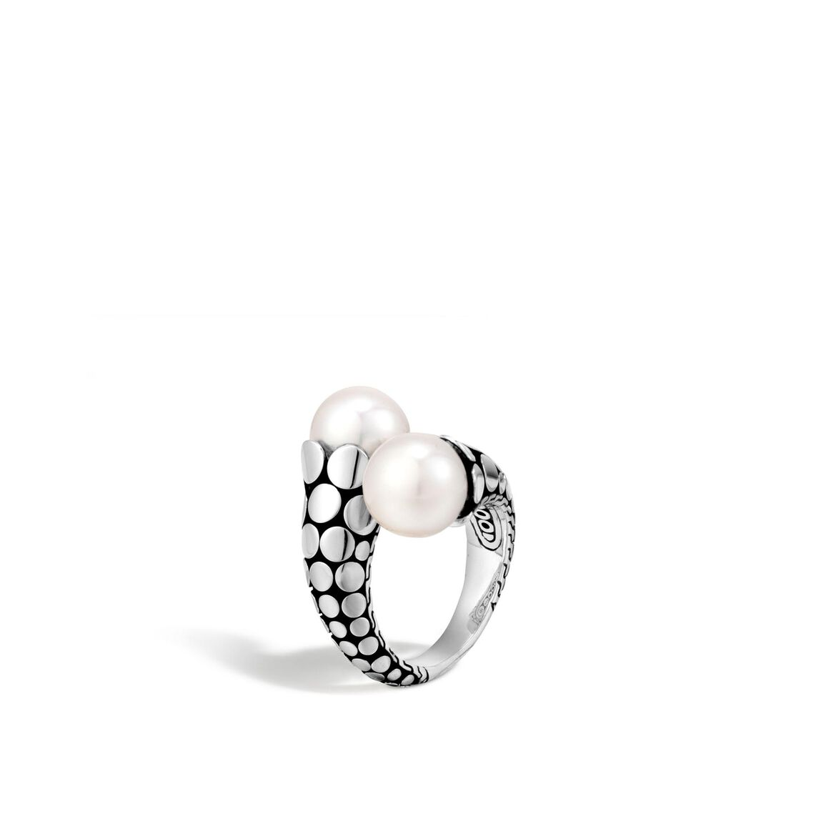 Dot Bypass Ring in Silver with 11MM Pearl