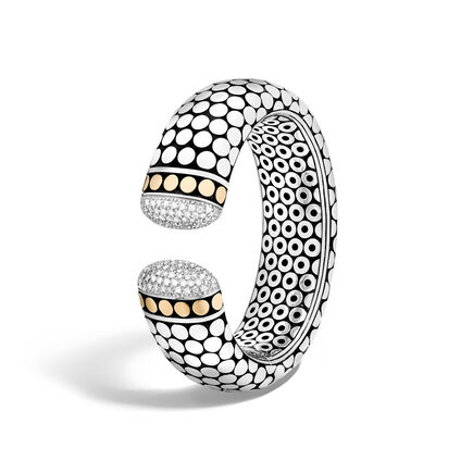 Dot 23.5MM Kick Cuff in Silver and 18K Gold with Diamonds