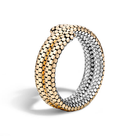 Dot Double Coil Bracelet in Silver and 18K Gold