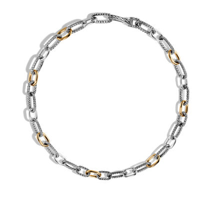 Classic Chain 12mm Link Necklace in Silver and 18K Gold