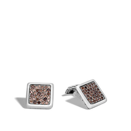 Classic Chain Cufflinks in Silver with Gemstone