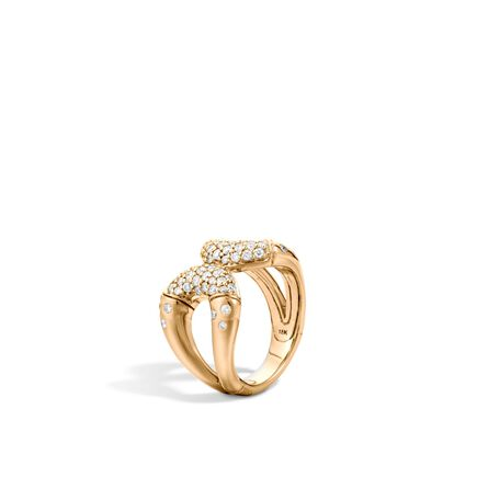 Bamboo Ring in 18K Gold with Diamonds