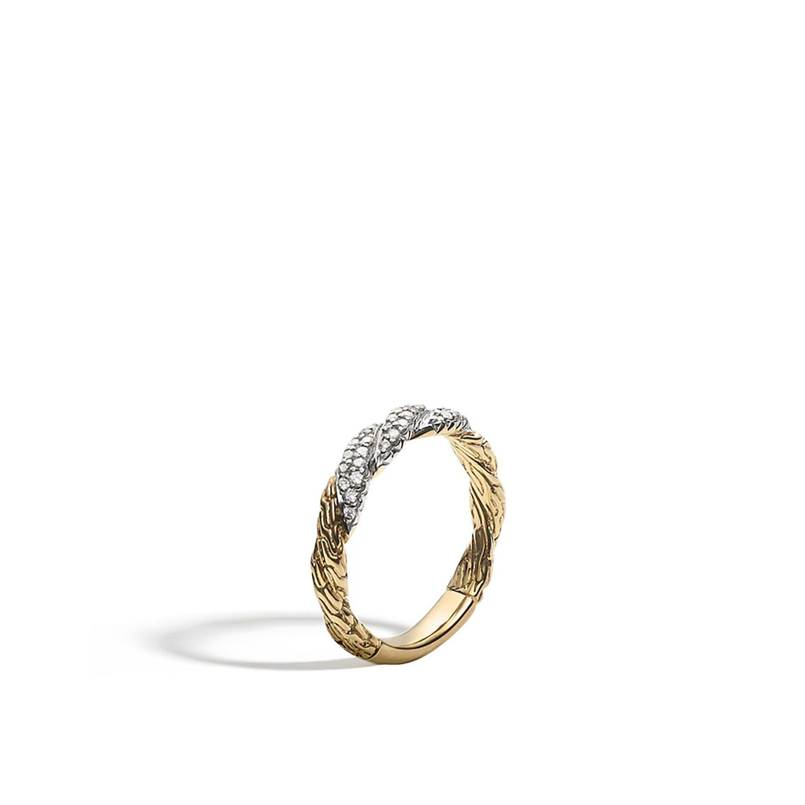 Twisted Chain 4MM Band Ring in 18K Gold with Diamonds