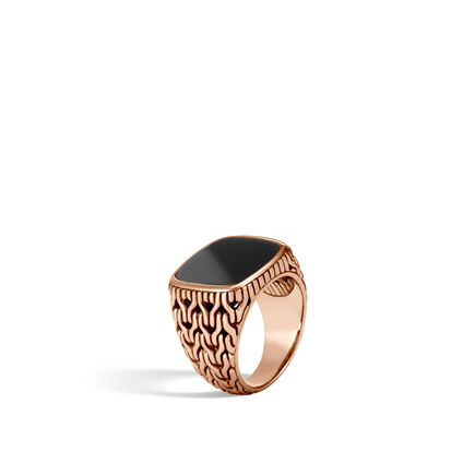 Classic Chain Signet Ring in Bronze with Gemstone