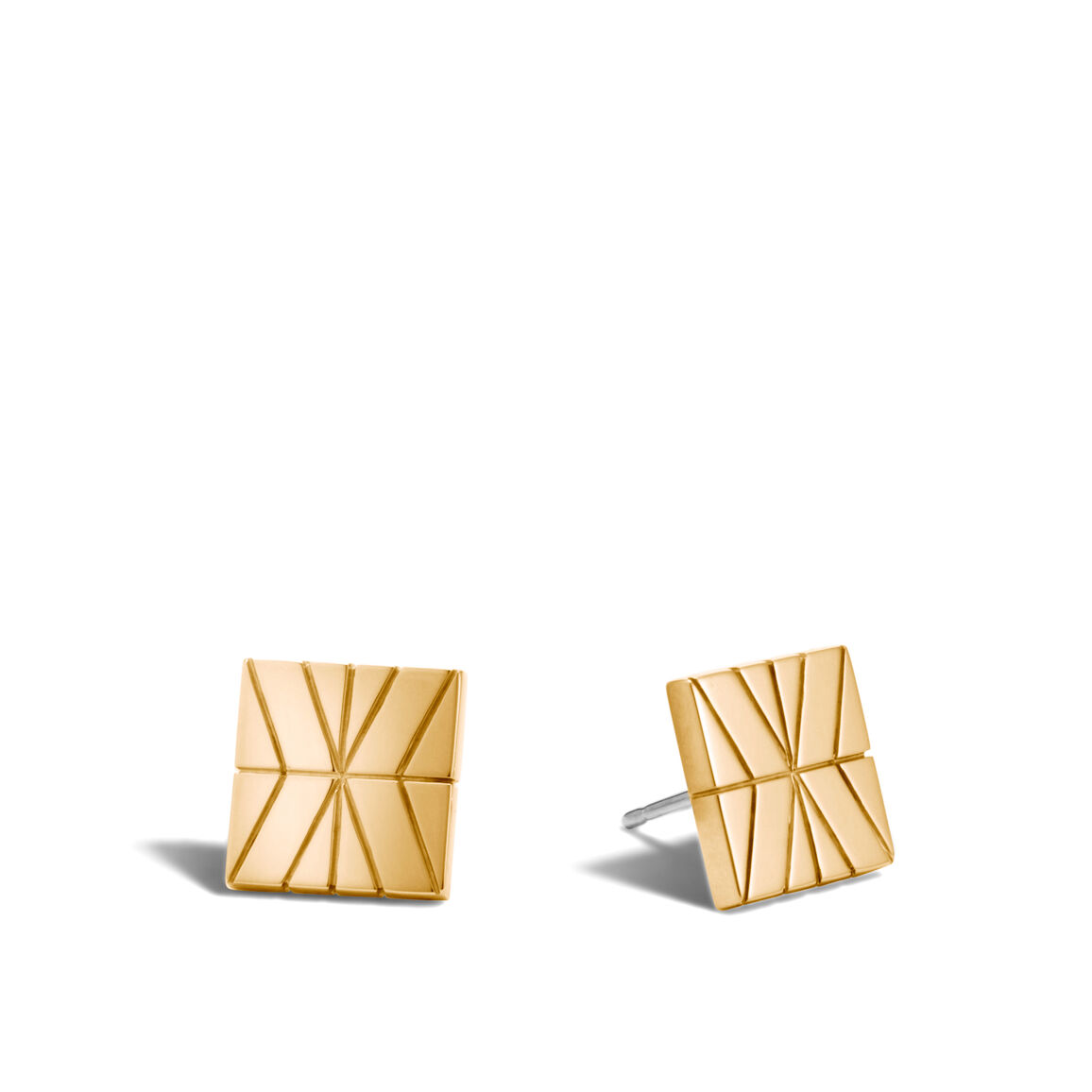 Modern Chain Stud Earring in Silver and 18K Gold