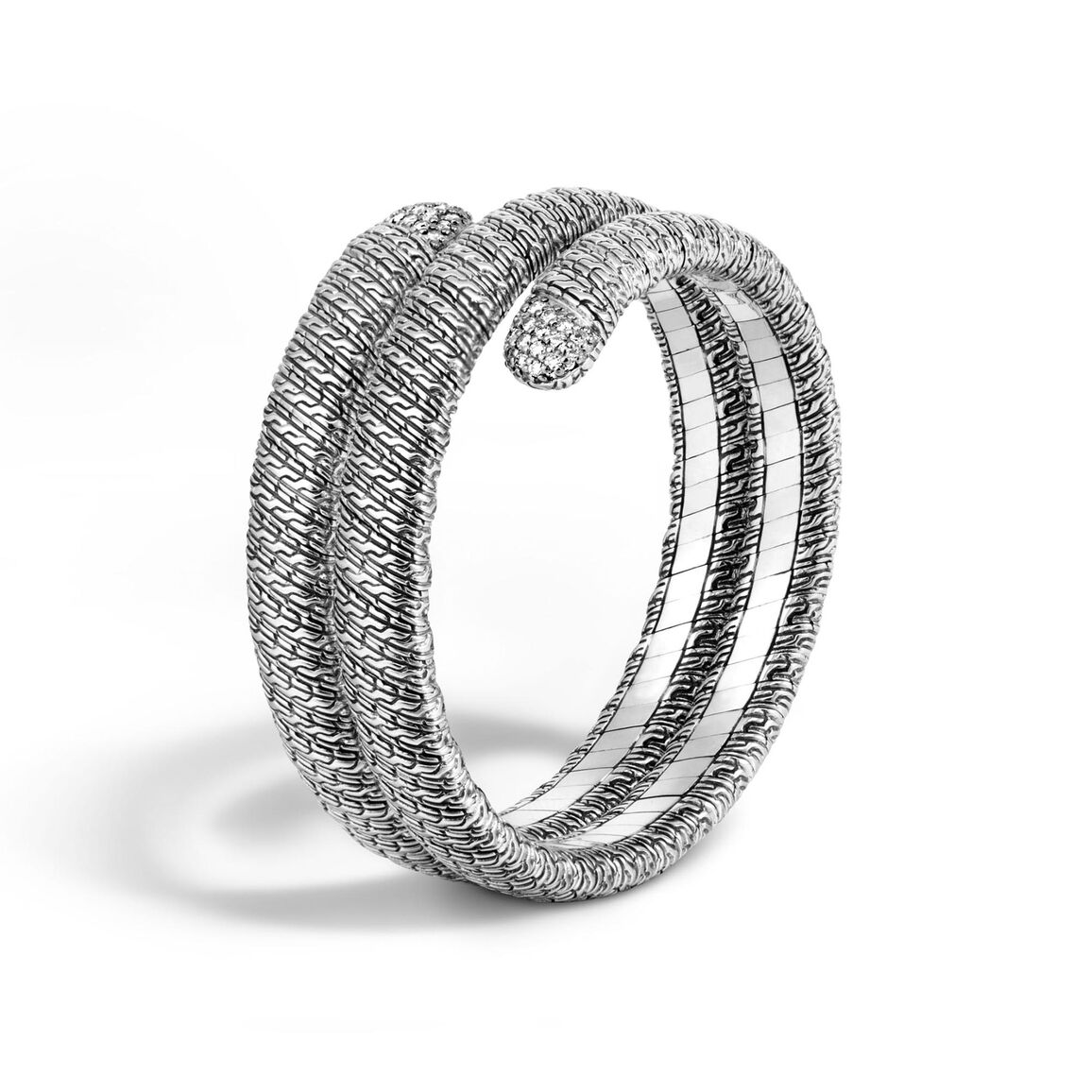 Classic Chain Double Coil Bracelet in Silver with Diamonds