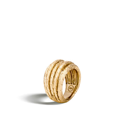 Classic Chain Five Row Ring in 18K Gold