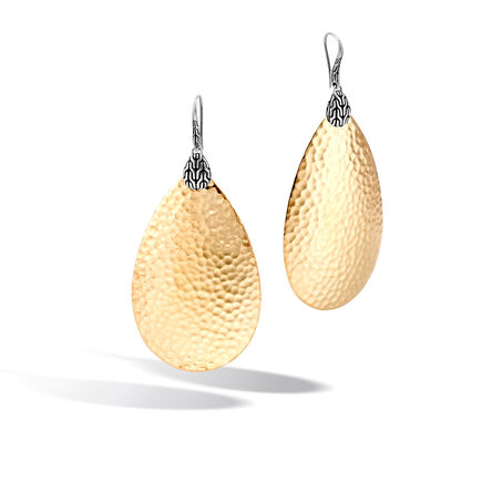 Classic Chain Large Drop Earring, Silver, Hammered 18K Gold